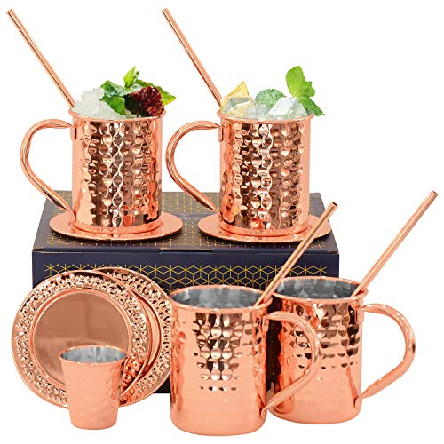 Set of 4 Moscow Mule Mugs - Copper Hammered Stainless Steel Copper Mugs - 12 oz Handmade Cocktail Copper Mugs Set with Straws Shot Glass Coasters