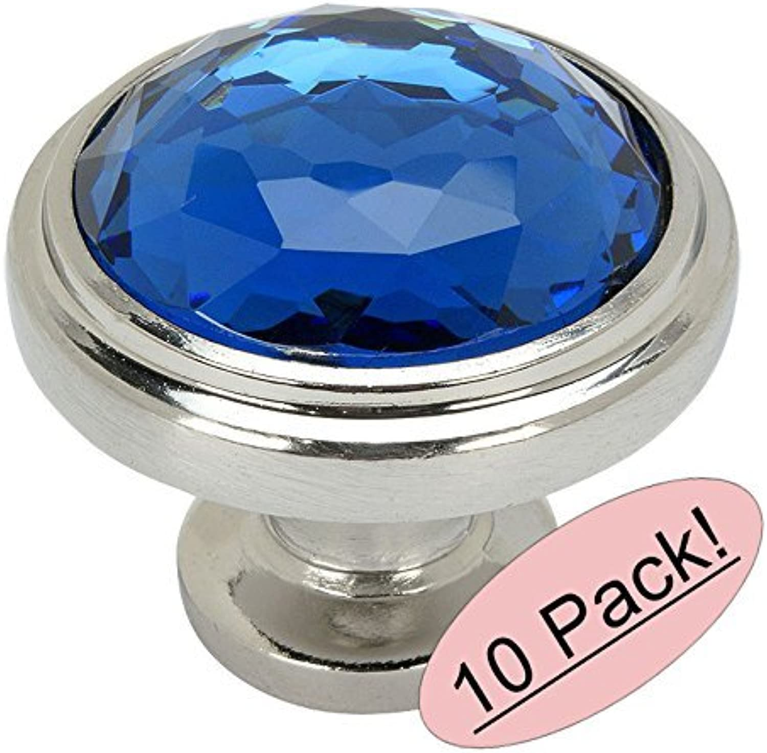 Cosmas 5317SN-BL Satin Nickel Cabinet Hardware Round Knob with bluee Glass - 1-1 4  Diameter - 10 Pack
