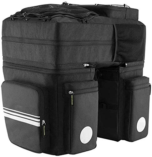 Bike Rack Seat Bag 48 Liter Large Capacity Bicycle Bag Bike Rear Rack Bag Reflective Rear Seat Backpack Bag Outdoor Bicycle Pannier Trunk (Color : Black, Size : 48L) ( Color : Black , Size : 48L )