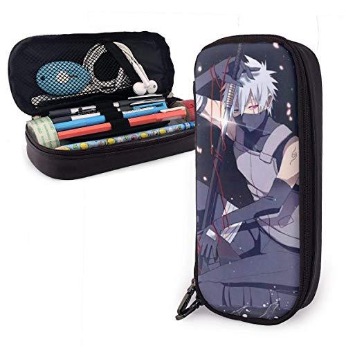 Estuche Naru-to-Hatake Kakashi de gran capacidad para lápices, bolsa de maquillaje, papel de carta con doble cremallera, soporte para bolígrafos para escuela/oficina