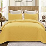 Exclusivo Mezcla Ultrasonic 3-Piece Queen Size Quilt Set with Pillow Shams, Lightweight Bedspread/Coverlet/Bed Cover - (Yellow, 92'x88')