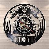 CVG Motorcycle Time Touring Motorcyclis Rider Reloj de Pared para Motociclista Racing Vinyl Record Reloj de Pared Regalos para Motociclista