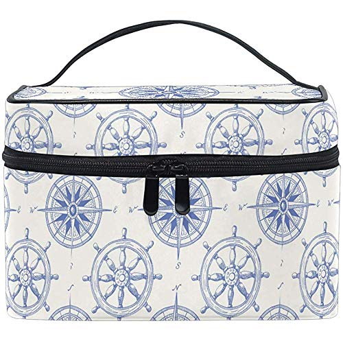 Maquillage Nautique Vintage Bleu Marine Navire Volant mer Boussole Trousse de Toilette étui Portable Brosse Sac de Rangement