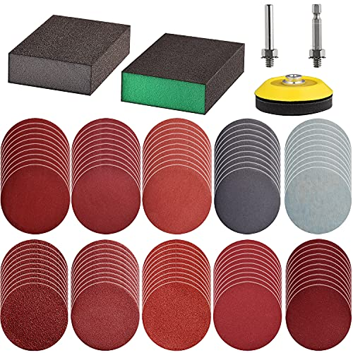 Tshya 100pcs 3inch Sanding Discs Pad with 2Pcs Sanding Sponge Buffing Blocks Variety Kit for Drill Grinder Rotary Tools Attachment with 1/4