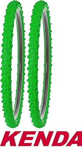 KENDA 2X Fahrradreifen 26 Zoll 50-559 26x1,95 MTB Profil K-829 Reifen Fahrrad Decke Mantel Neongrün Grün