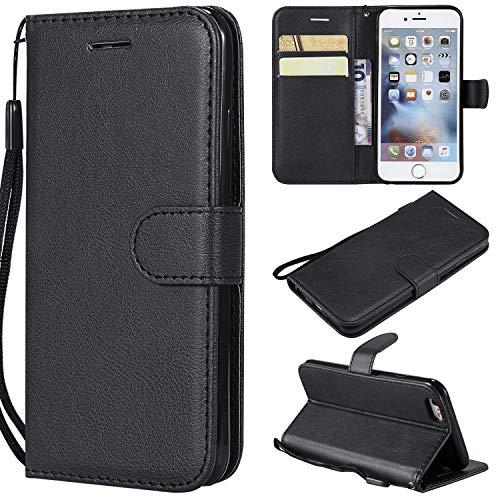 Artfeel Flip Brieftasche Hülle für iPhone 6, iPhone 6S Premium PU Leder Handyhülle mit Kartenhalter,Retro Bookstyle Stand Abdeckung mit Magnetverschluss Handschlaufe Hülle-Schwarz