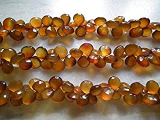 """Jewel Beads Natural Beautiful jewellery 8"""" 9-11MM Shaded Botswana Chalcedony Faceted Heart Shaped Briolette BeadsCode:- JBB-33487"""