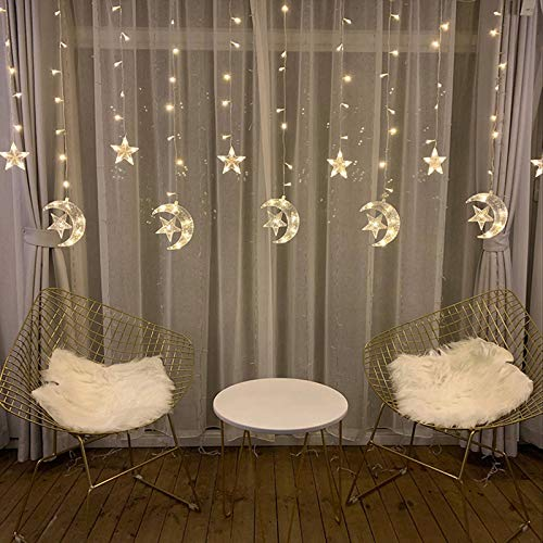 Curtain Fairy Lights Christmas Fairy String Lights Waterproof 2.5m Window Curtain String Lights 8 Modes Remote Control String Lights for Indoor Outdoor Wedding Christmas Bedroom Firefly Lights