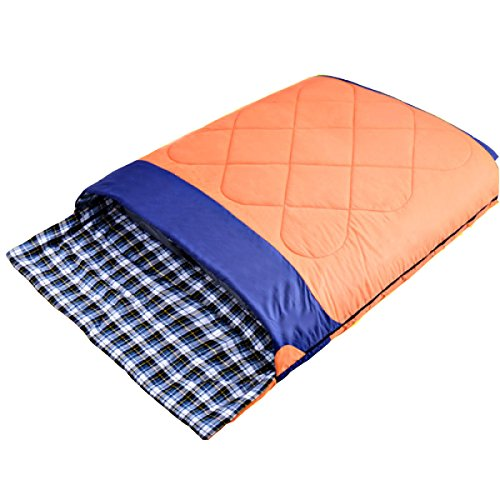 Camping Détachable Extérieur De Xin.S Double Sac De Couchage De Flanelle Adulte Imperméable à L'eau Portable Voyage Sac De Couchage,Orange-(190+30)*150