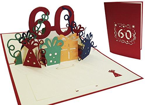 LIN-POP UP Grußkarten zum 60. Geburtag, Geburtstagskarten Glückwunschkarten Grußkarten Geburtstag