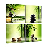 Pyradecor Modern 4 Panel Stretched Contemporary Zen Canvas Prints Perfect Bamboo Green Pictures on Canvas Wall Art for Home Office Decorations Living Room Bedroom