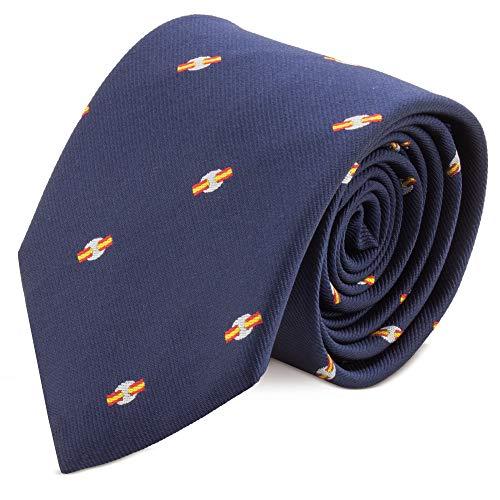 Delone. Stropdas in marineblauw met kalot patroon met Spaanse vlaggen, met etui (marineblauw)