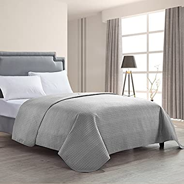 HollyHOME Luxury Checkered Super Soft Solid Single Pinsonic Bed Quilt Bedspread Bed Cover, Grey, Full/Queen