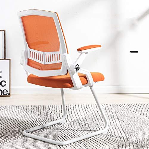 ZZDC Computer game stoel, ademend mesh comfortabele rug stalen voet boog leren conferentie bureaustoel stoel eetkamerstoel
