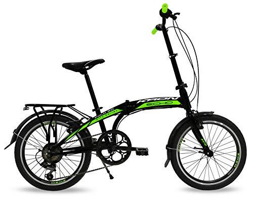 Bicicletta pieghevole 20\'\' Kron Fold 3.0, Folding bike con cambio 7 Velocità speed nero Unisex (Nero - Verde)