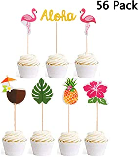 Finduat 56 Pack Hawaiian Aloha Cupcake Toppers for Luau Summer Flamingo Pineapple Hibiscus Flowers Tropical Palm Leaves Cupcake Toppers Picks Party Supplies