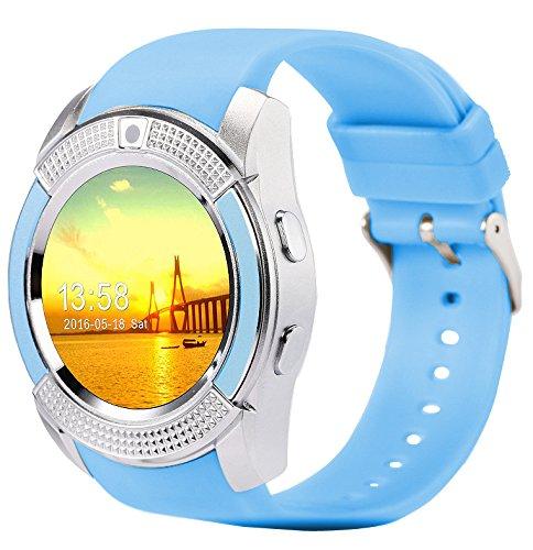 V8 Smartwatch Bluetooth Smart Horloge Touch Screen Polshorloge Met Camera SIM Card Slot Waterdichte Sport Horloge Voor Android,Blue