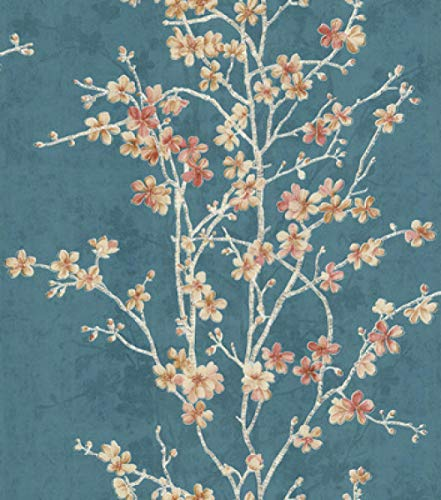 ACCEY Romantico fiore di ciliegio fresco piccolo carta da parati floreale Carta da parati in stile giapponese Carta da parati TV carta da parati non tessuta camera da letto ragazza@83002_5.3㎡