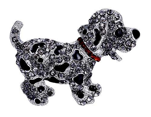 fashionjewellery4u Spilla a Forma di Cucciolo di Cane in Ematite Nera con Cristalli di Diamante, Idea Regalo per lei, Donne e Donne