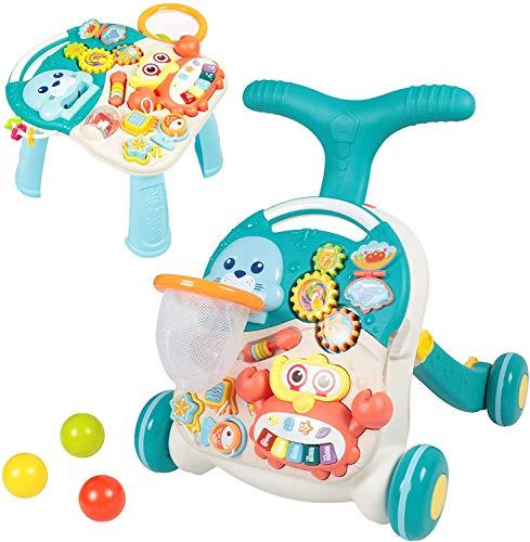 Lauflernhilfe für Jungen und Mädchen - Sit-to-Stand- lauflernwagen - lauflernhilfe für babys mit Aktivitätstabelle - Activity Walker für Baby und Mädchen (Blau)