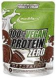 IronMaxx Vegan Protein Zero Veganes Proteinpulver aus hochwertigen pflanzlichen Proteinquellen 4 Komponenten Eiweißpulver ohne Soja zuckerfrei, Cookies & Cream, Kekse & Sahne, Beutel, 500 g