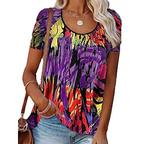RWXXDSN Camiseta de manga corta con cuello redondo y estampado informal de color en contraste para mujer