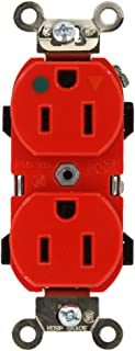 Leviton 8200-IGR 15-Amp, 125-Volt, Narrow Body Duplex Receptacle, Straight Blade, Hospital Grade, Isolated Ground, Back and Side Wired, Red