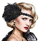 1920s Flapper Headbands Great Gatsby Rhinestone Headpiece with Peacock Feather Jewel Hair Accessories (Black)