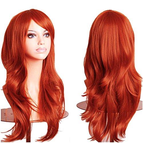 58CM Frauen lange gewellte Anime volle Perücken Orange Haare Perücke tägliche Party Cosplay Halloween