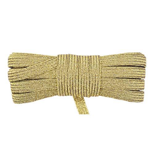 DIY PARK 5 Yard 1/4' 6mm Flat Skinny Elastic Cord Latex Rubber Band Spandex Rope Face Cover Ear Loop Dress DIY Sewing Trim (Gold Glitter)