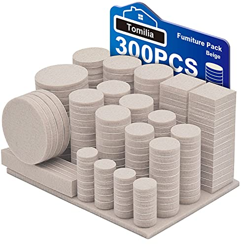 Furniture,Various Sizes Self Adhesive Chair Leg Pads 300 Pcs Cuttable Felt Chair Pads, Your Best Wood Floor Protectors,Beige