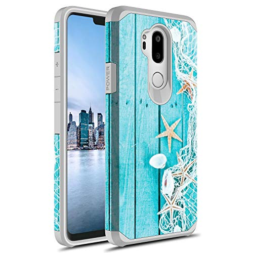 Rosebono for LG G7 Thinq Case, Slim Hybrid Dual Layer Shockproof Hard Cover Graphic Fashion Cute Colorful Silicone Skin Cover Armor Case for LG G7 Thinq (Starfish)
