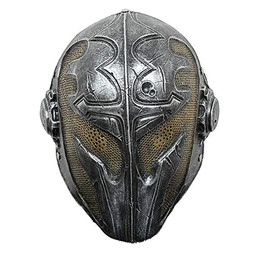 YYH Máscara de templario de Halloween, Regalo del Tocado del Festival Cosplay, Material de Resina (Color : Silver)