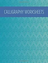Calligraphy worksheets: Blank practice sheets book with slanted grid paper: Blue pattern cover design