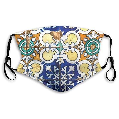 DIY Face Ma-Sk met verwisselbare actieve koolfilters Ma-Sk voor tuin, vissen, motorfiets, wasbaar, geschikt voor de huid, verstelbaar, Ma-Sk Vintage tegels Portugal traditionele etnische traditie