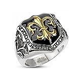 Autiga Herren Edelstahl Ring Fleur De Lis Freimaurer Ring Siegelring Silber 64 - Ø 20,57 mm