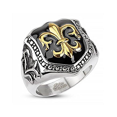 Autiga Herren Edelstahl Ring Fleur De Lis Freimaurer Ring Siegelring Silber 67 - Ø 21,39 mm