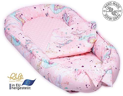 PALULLI Babynest, multifunktionales Kuschelnest mit Weiches zusätzlicher Matratze, Kokon, Nestchen, Babybett, Reisebett für Neugeborene, 100% Baumwolle OEKO-TEX (Pony Rosa)
