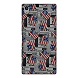 Amzer Slim Fit Handcrafted Designer Printed Hard Shell, Ultra Light Back Case Cover Skin for Sony Xperia Z5 Premium - USA Flags HD Color