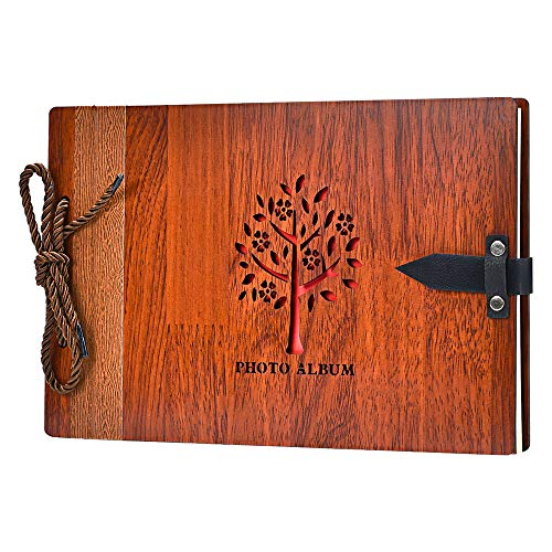 ZEEYUAN Fotoalbum zum Selbstgestalten 80 Seiten aus Holz 29x19cm Hochzeit Hohlmuster Fotobuch mit Fotoecken als Geschenk zum Valentinstag Geburtstag und Weihnachten für Alle