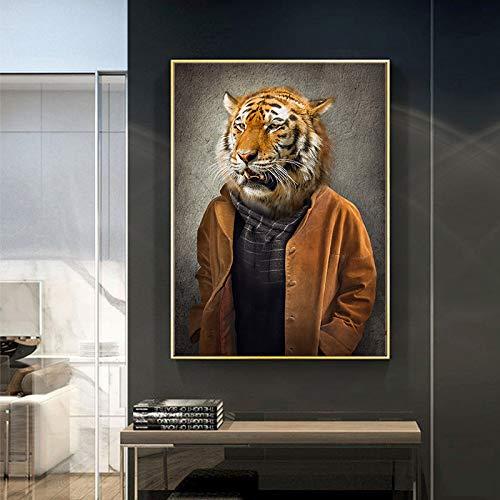 KWzEQ Quadro Nordico retrò nostalgico Gentiluomo su Tela Pittura murale Capra Zebra Animale Poster e Stampa,Pittura Senza Cornice,30X45cm
