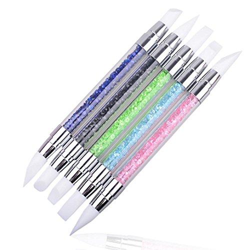 Tonsee 1pcs Pencil Strass Head Nail Art Pinceau Pinceaux en silicone avec de l'acrylique Strap, [couleur aléatoire]