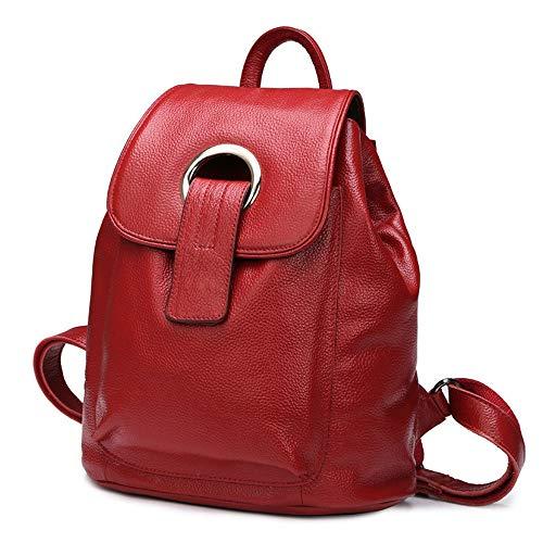 Moderna mochila de piel retro para mujer, bolso para mujer, varios bolsillos, tamaño grande, retro, mochila, bolso, correa larga, bolso para mujer, para ir de compras, trabajo, viajes rojo vino