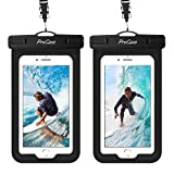 (2 Pack) ProCase Waterproof Phone Pouch Case with Touch ID up to 7', Cellphone Dry Bag for iPhone 11 Pro Max, 12 Mini 11 Pro Xs Max XR X 8 7 Plus SE, Galaxy S20 with Fingerprint Recognition -Black