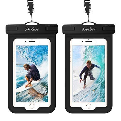 ProCase 2 uds.Funda Impermeable Apoya Touch ID,Bolsa Estanca para iPhone 12 Mini/Pro/SE/11/X/XS Max/XR/8/7 con Identificación Dactilar, Galaxy S10/S10e/S9/J5/J3, Huawei Xiaomi Redmi hasta 6' -Negro