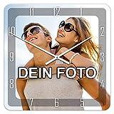PhotoFancy - Uhr mit Foto Bedrucken - Quadratische Fotouhr aus Kunststoff - Wanduhr...