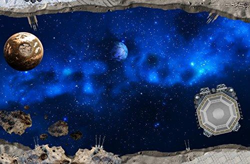 Galaxis Spielmatte (ähnlich Spielteppich) | SM12 | Hochwertige Galaxis Spiel-Matte für das Kinder-Zimmer | ideales Zubehör zu Spiel-Figuren & Autos von Schleich, Playmobil, Papo, Bullyland & Co | 150 x 100 cm | STIKKIPIX