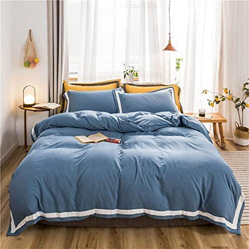 Conjunto de tapa de edredón, cama 100% poliéster, cama, cama individual, cubierta de edredón suave cama individual 2 fundas de almohada incluidas, lavable a máquina ( Color : Blue , Size : Single )