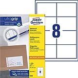 AVERY Zweckform 3660 Universal Etiketten (800 Klebeetiketten, 97x67,7mm auf A4, Papier matt, bedruckbare Versandetiketten, selbstklebende Versandaufkleber mit ultragrip) 100 Blatt, weiß