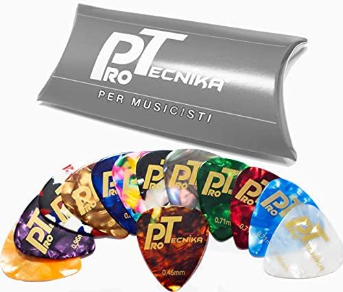 ProTecnika® 40 Plettri Performance Pure Celluloid .351 Misure 0.46/0.71/0.96 Colori Misti Plettri Per Chitarra Classica Elettrica Acustica Basso Ukulele Banjo Mandolino Idea Regalo